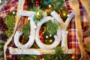christmas tree with joy ornament